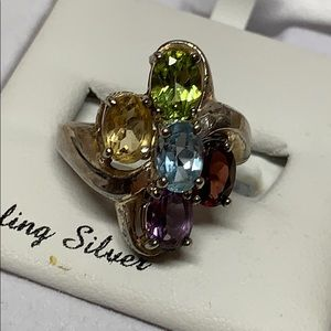 Vintage Family Birthstone Ring SS size 7